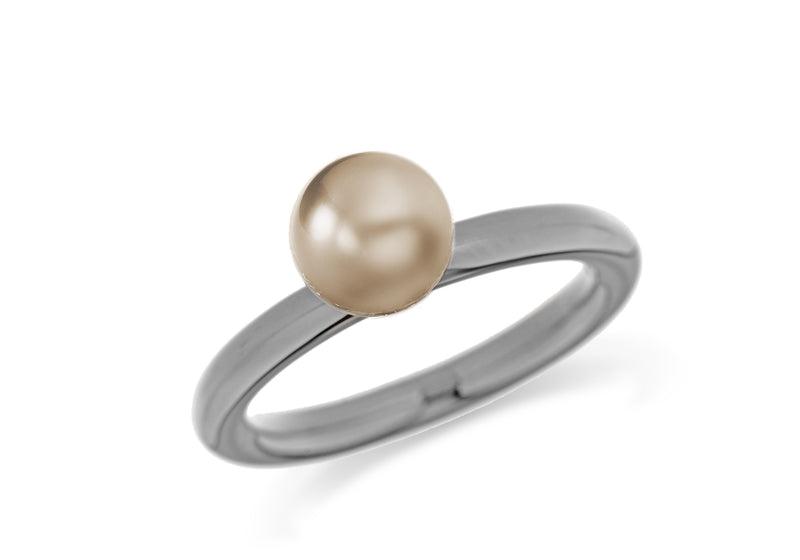 Sterling Silver Black Rhodium Plated Bronze Simulated Pearl Stacking Ring