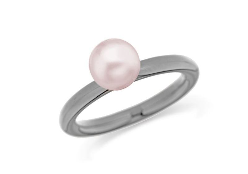 Sterling Silver Black Rhodium Plated Simulated Pink Pearl Stacking Ring