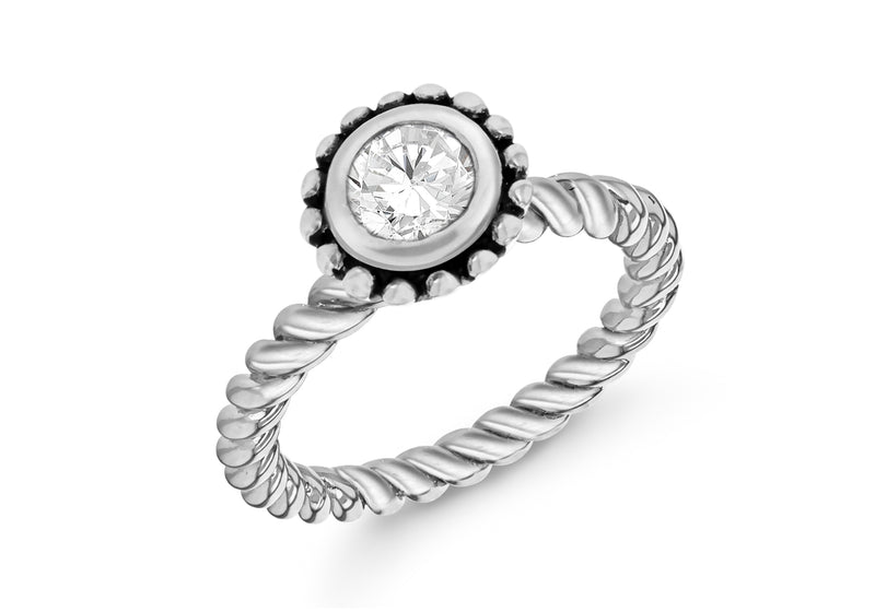 Sterling Silver Rhodium Plated Round White Zirconia  Stacking Ring