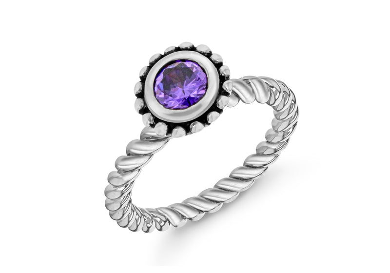 Sterling Silver Rhodium Plated Round Purple Zirconia  Stacking Ring
