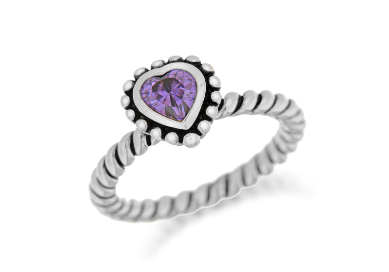 Sterling Silver Rhodium Plated Purple Zirconia  Heart Stacking Ring