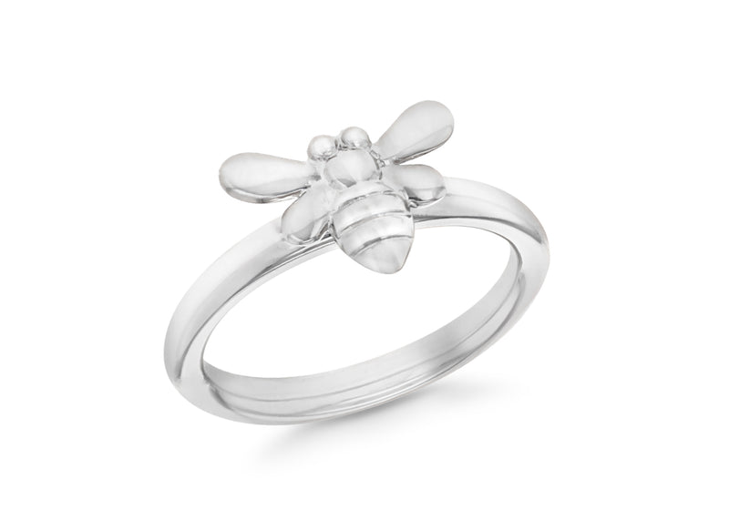 Sterling Silver Rhodium Plated Bee Stacking Ring