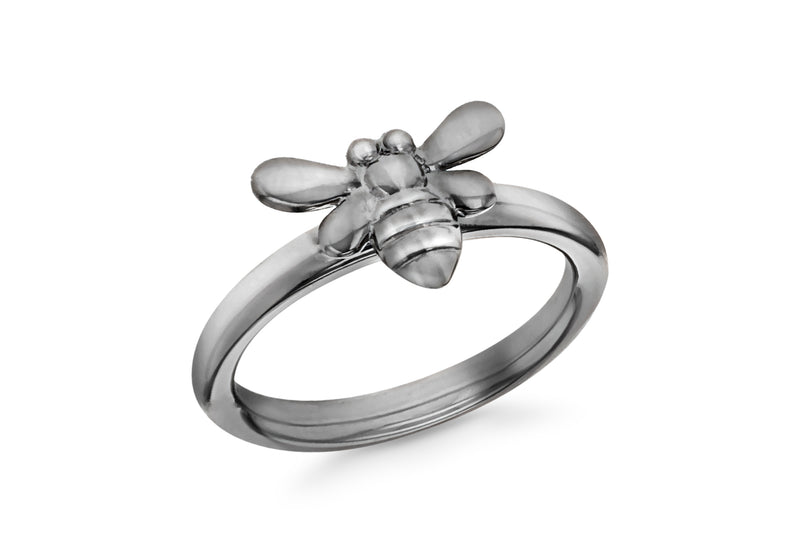 Sterling Silver Black Rhodium Plated Oxidised  Bee Stacking Ring