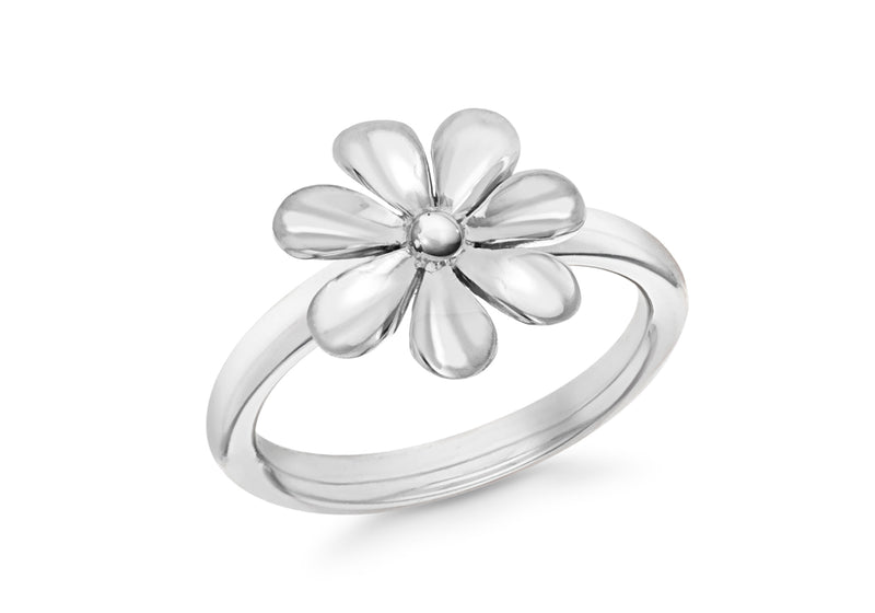 Sterling Silver Rhodium Plated Flower Stacking Ring