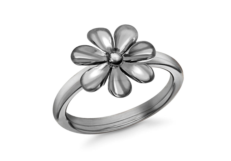 Sterling Silver Black Rhodium Plated Flower Stacking Ring