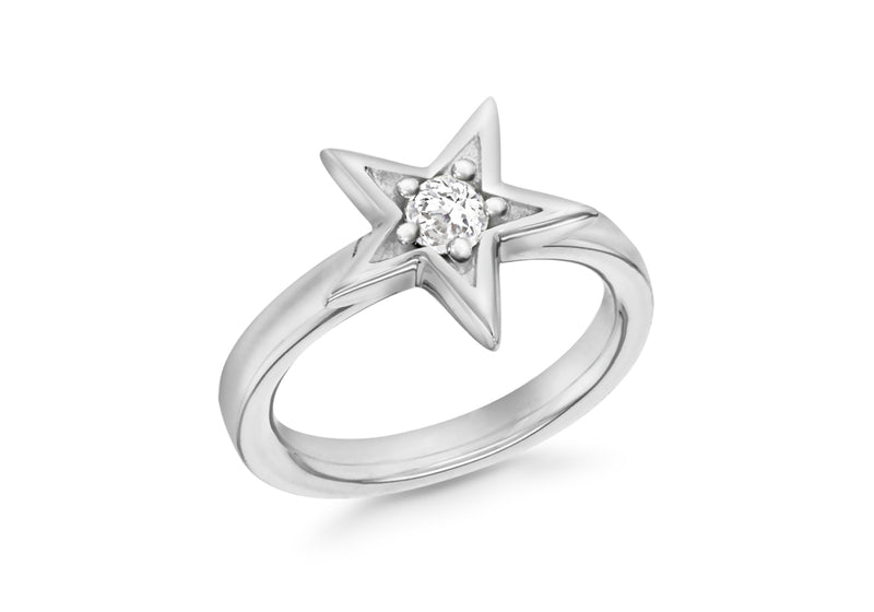 Sterling Silver Rhodium Plated White Zirconia  Star Stacking Ring