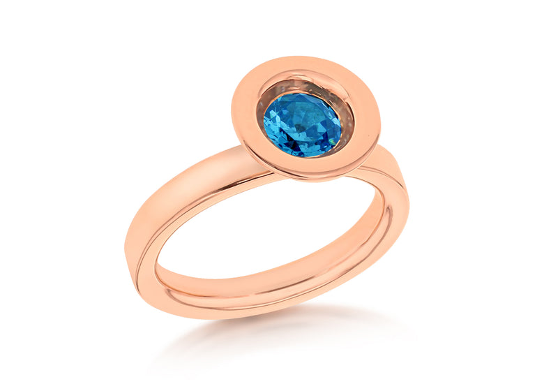 Sterling Silver Rose Gold Plated Round Blue Zirconia  Stacking Ring