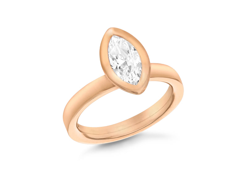 Sterling Silver Rose Gold Plated Elliptic White Crystal Stacking Ring