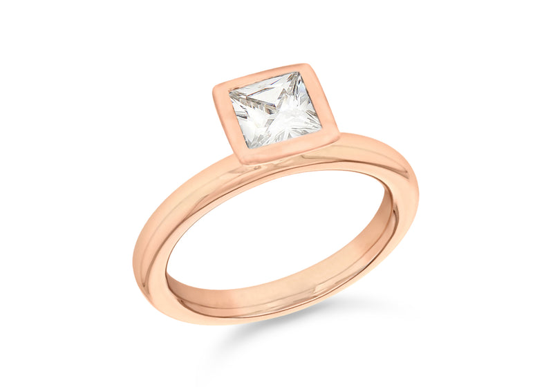 Sterling Silver Rose Gold Plated Square White Zirconia  Stacking Ring