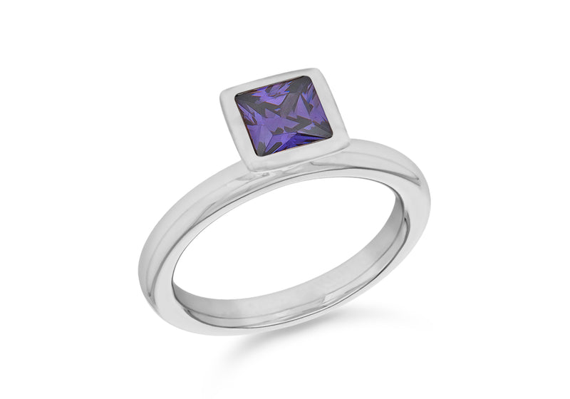 Sterling Silver Rhodium Plated Square Purple Zirconia  Stacking Ring