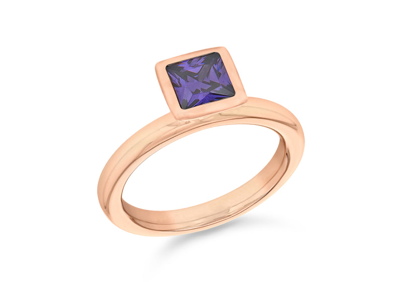 Sterling Silver Rose Gold Plated Square Purple Zirconia  Stacking Ring