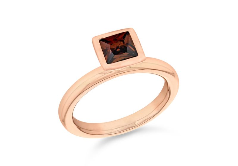 Sterling Silver Rose Gold Plated Square Brown Zirconia  Stacking Ring