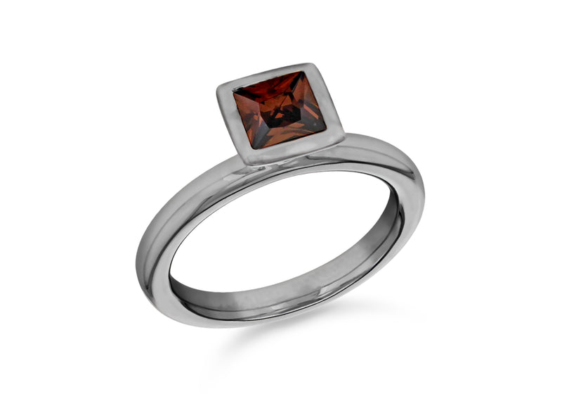 Sterling Silver Black Rhodium Plated Square Brown Zirconia  Stacking Ring