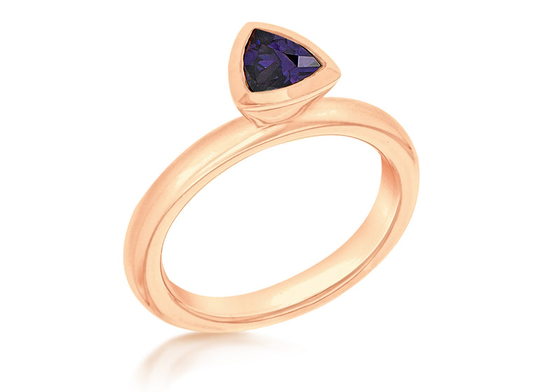 Sterling Silver Rose Gold Plated Traingular Purple Zirconia  Stacking Ring