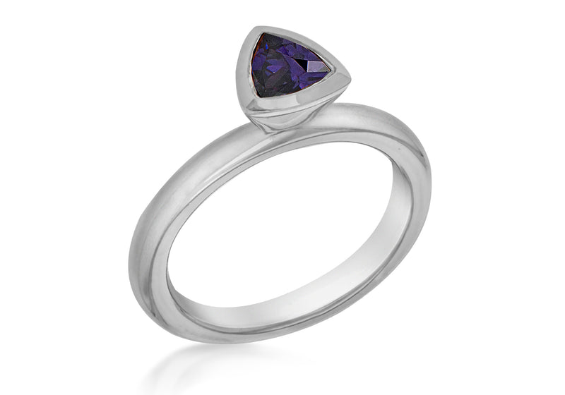 Sterling Silver Black Rhodium Plated Tiangular Purple Zirconia  Stacking Ring