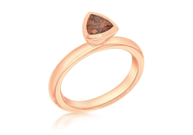 Sterling Silver Rose Gold Plated Triangular Brown Zirconia  Stacking Ring