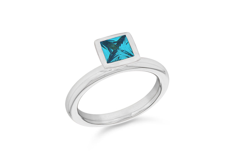Sterling Silver Rhodium Plated Square Blue Zirconia  Stacking Ring