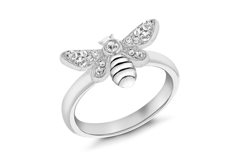 Sterling Silver Rhodium Plated Oxidised  Zirconia  Bee Stacking Ring