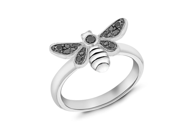 Sterling Silver Rhodium Plated Oxidised  Black Zirconia  Bee Stacking Ring
