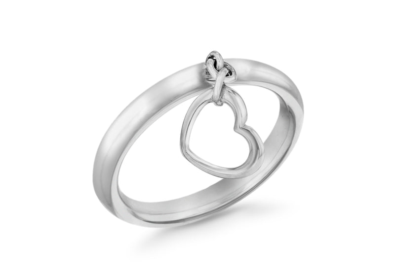 Sterling Silver Rhodium Plated Open-Heart Drop Stacking Ring