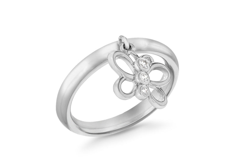 Sterling Silver Rhodium Plated Zirconia Butterfly Drop Stacking Ring