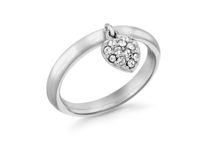 Sterling Silver Rhodium Plated Zirconia  Heart Drop Stacking Ring