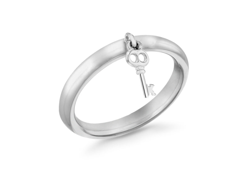 Sterling Silver Rhodium Plated Key Drop Stacking Ring