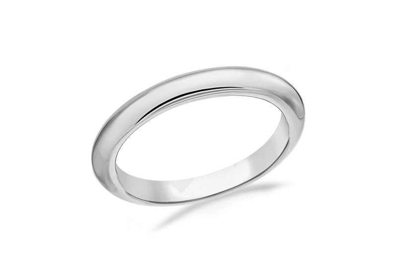 Sterling Silver Rhodium Plated Band Stacking Ring