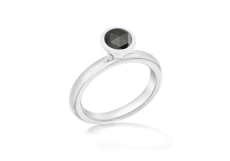 Sterling Silver Rhodium Plated Round Black Zirconia  Stacking Ring