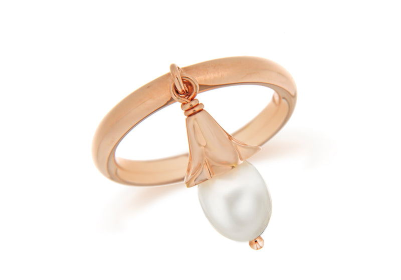 Sterling Silver Rose Gold Plated White Pearl Drop Stacking Ring
