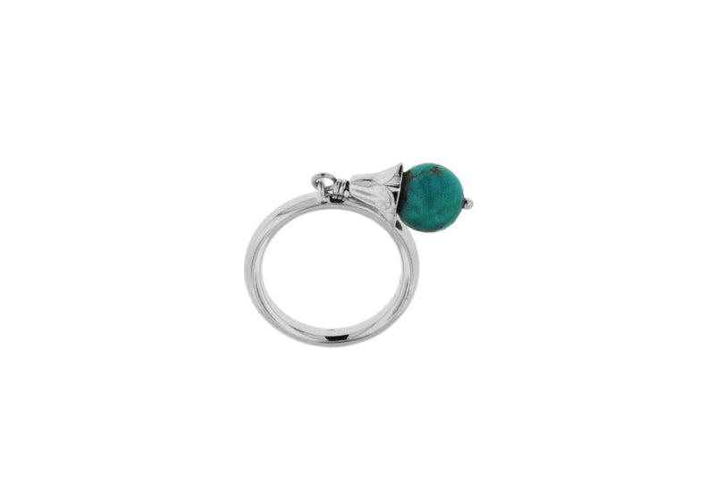 Sterling Silver Rhodium Plated Turquoise Drop Stacking Ring