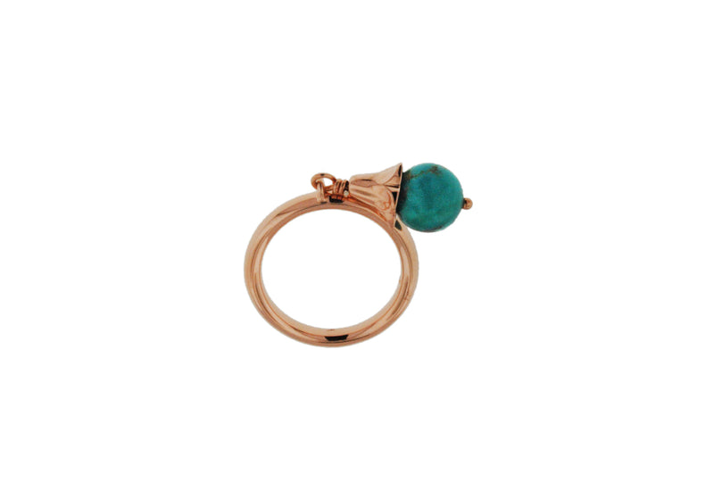 Sterling Silver Rose Gold Plated Turquoise Drop Stacking Ring