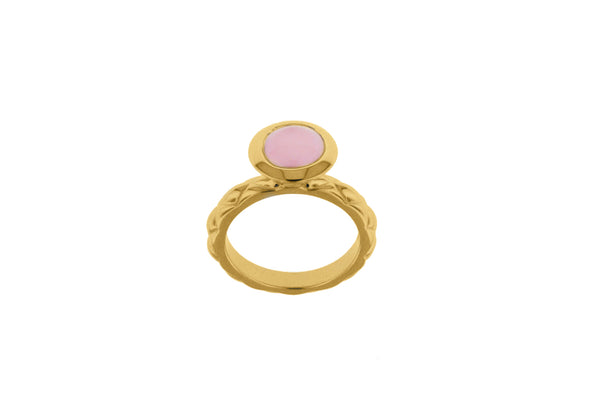 Sterling Silver Yellow Gold Plated Round Pink Opaque Crystal  Patterned Stacking Ring
