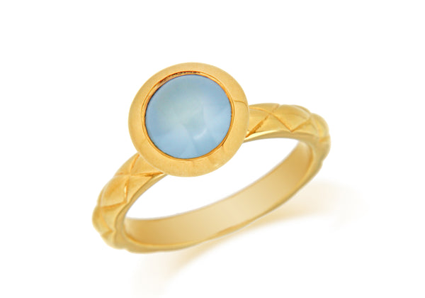 Sterling Silver Yellow Gold Plated Round Blue Opaque Crystal  Patterned Stacking Ring