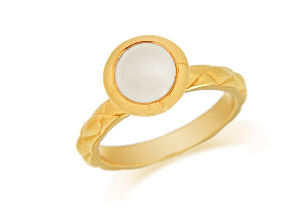 Sterling Silver Yellow Gold Plated Round White Opaque Crystal  Patterned Stacking Ring