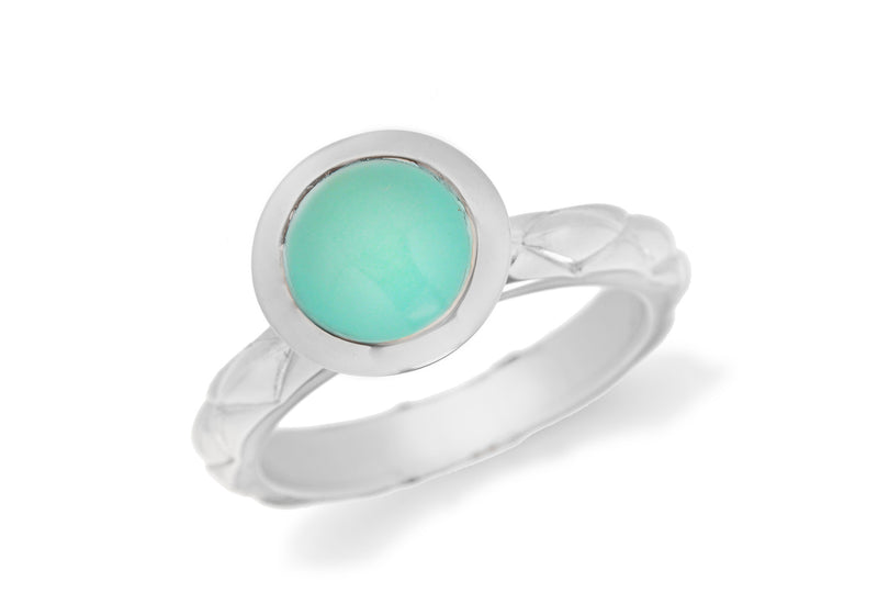 Sterling Silver Rhodium Plated Round Turquoise Opaque Crystal  Patterned Stacking Ring