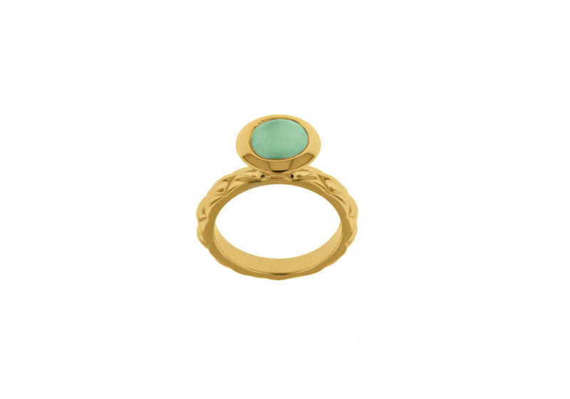 Sterling Silver Yellow Gold Plated Round Turquoise Opaque Crystal  Patterned Stacking Ring