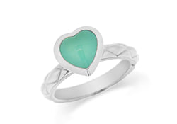 Sterling Silver Rhodium Plated Turquoise Opaque Crystal  Heart Patterned Stacking Ring