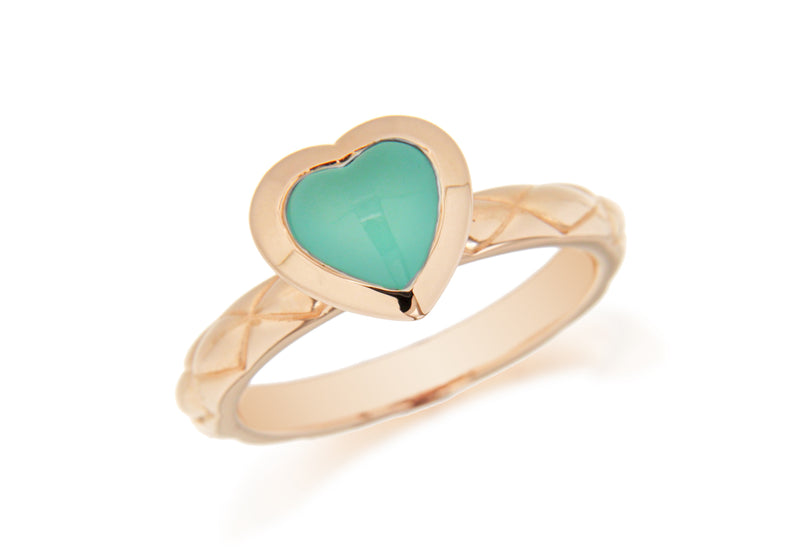 Sterling Silver Rose Gold Plated Turquoise Opaque Crystal  Heart Patterned Stacking Ring