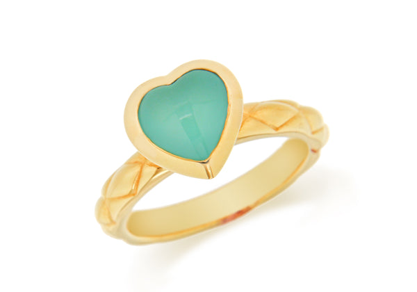 Sterling Silver Yellow Gold Plated Turquoise Opaque Crystal  Heart Patterned Stacking Ring