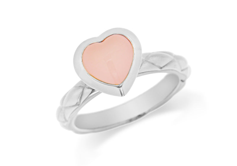 Sterling Silver Rhodium Plated Pink Opaque Crystal  Heart Patterned Stacking Ring