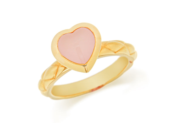 Sterling Silver Yellow Gold Plated Pink Opaque Crystal  Heart Patterned Stacking Ring