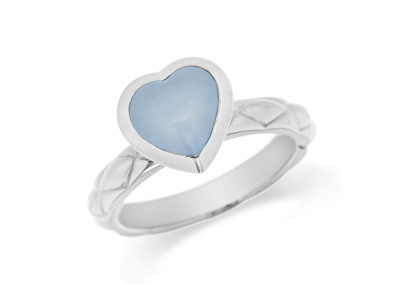 Sterling Silver Rhodium Plated Blue Opaque Crystal  Heart Patterned Stacking Ring