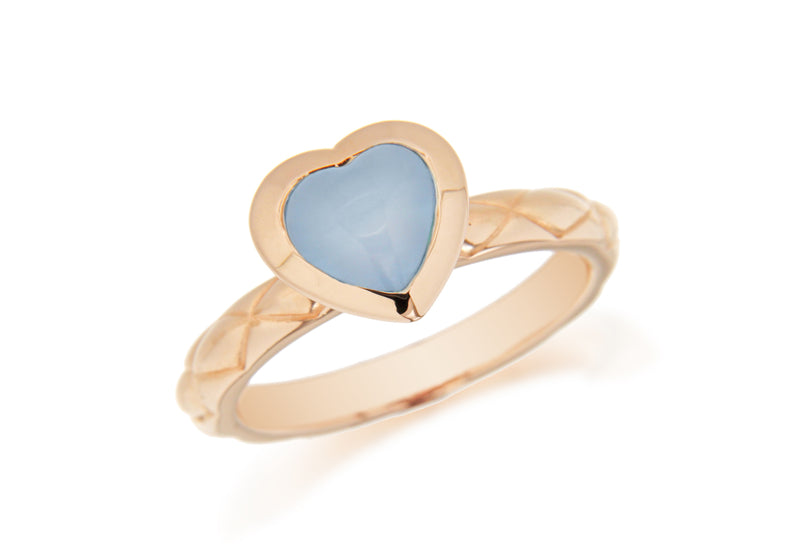 Sterling Silver Rose Gold Plated Blue Opaque Crystal  Heart Patterned Stacking Ring