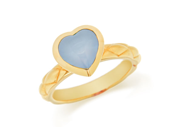 Sterling Silver Yellow Gold Plated Blue Opaque Crystal  Heart Patterned Stacking Ring