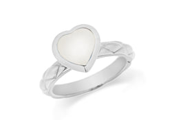 Sterling Silver Rhodium Plated White Opaque Crystal  Heart Patterned Stacking Ring