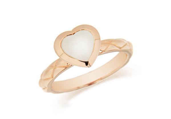 Sterling Silver Rose Gold Plated White Opaque Crystal  Heart Patterned Stacking Ring