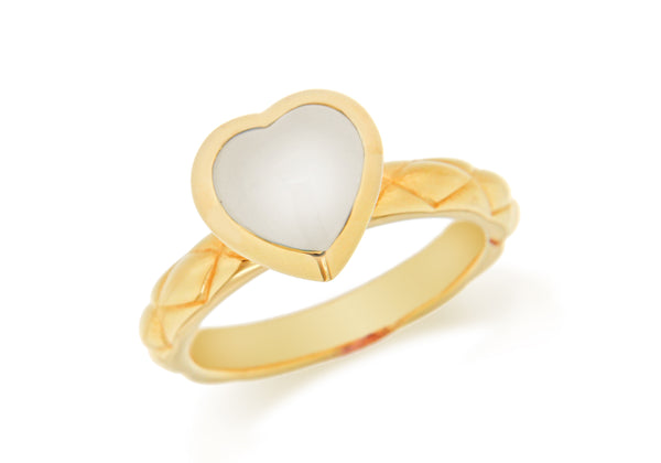 Sterling Silver Yellow Gold Plated White Opaque Crystal  Heart Patterned Stacking Ring
