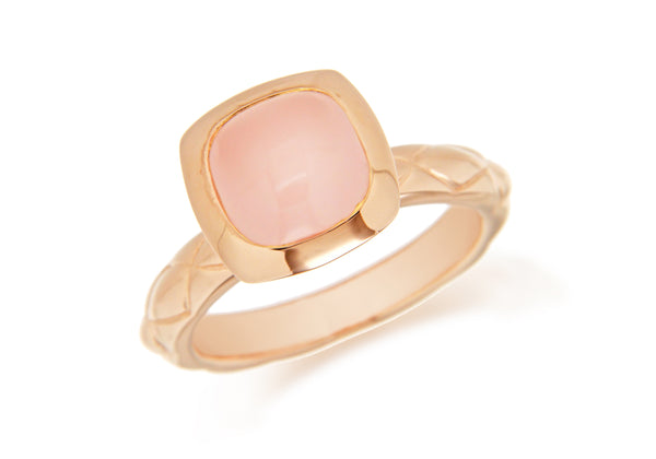 Sterling Silver Rose Gold Plated Square Pink Opaque Crystal  Patterned Stacking Ring