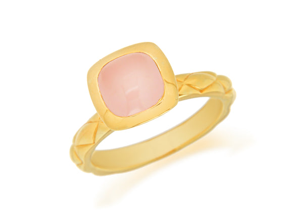 Sterling Silver Yellow Gold Plated Square Pink Opaque Crystal  Patterned Stacking Ring